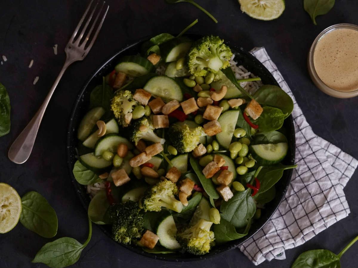 Groene salade met sojadressing