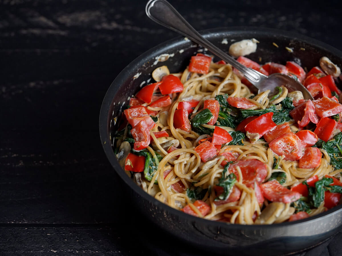 spaghetti met roomsaus