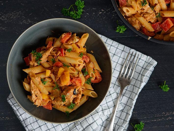 pittige pastasalade
